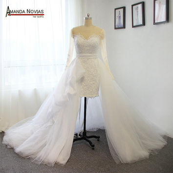 Amazing Sexy Short Long Wedding Dresses Detachable Bridal Dresses 2016