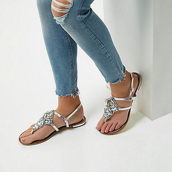 Silver metallic embellished flat sandals - Sandals - Shoes & Boots - women