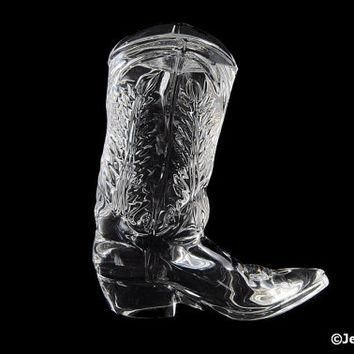 0fdf154e3c32 Vintage Glass Cowboy Boot Paperweight Signed Ralph Lauren Polo Cologne