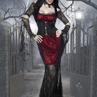 Black and Red Sheer Lace Maxi Dress Vampire Costume