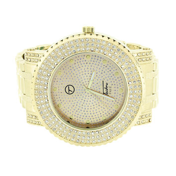 Gold Tone Mens Watch Gold White Iced Techno Pave