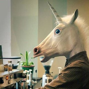 Novelty Full Latex Unicorn Mask
