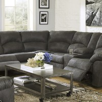2 pc Tambo collection pewter colored fabric upholstered sectional sofa with recliners and console