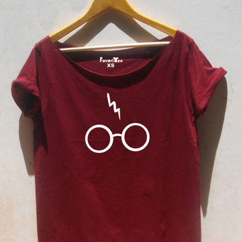 Harry Potter off the shoulder shirt lightning bolt glasses shirt slouchy shirt grunge style Harry potter fan gift adult tee