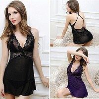 NEW Women Ladies Sexy Lingerie Nightwear Sleepwear Babydoll Lace Underwear Dress+G-string Lingerie Sets