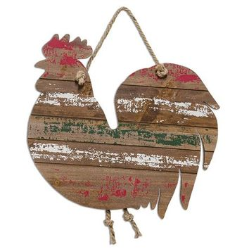 *Striped Rooster w/ Rope Hanger