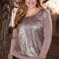 Soft Shimmer Sweater - Taupe - PLUS - Tops