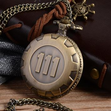 Cindiry Fashion Silver Gold Game Fallout 4 Vault 111 Quartz Pocket Watch Analog Pendant Necklace Mens Watches Womens Boy P20