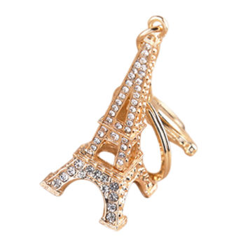 Charm Pendant Purse Bag Key Rings Gifts souvenirs key holder 2 Colors s Creative Eiffel Tower Rhinestone Keychain SM6