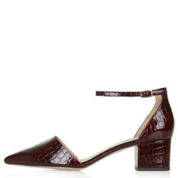 JIVE Croc-Effect Mid-Heel Shoes - Burgundy