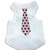 Pink Polka Dot Tie Dog Tank Top Shirt Monkey Daze Knit Large pp05