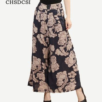 Skirt Trousers Summer Pant Button Capris Women Printed Wide Leg Pant Loose Style High Quality Fabric Linen Female 6 Colors K114