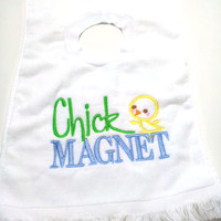 Bib Baby Boy Chick Magnet Cotton Terry Cloth Bib Made to Order Machine Embroidered Design