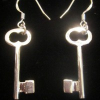 Earrings Keys Sterling Silver 925 Tiffany Co Style Dangle Chandelier