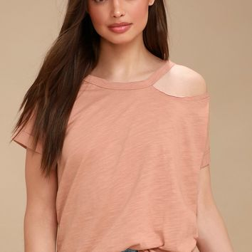 It's a Vibe Blush Distressed Tee