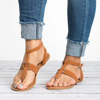 Strappy Thong Sandals - Tan