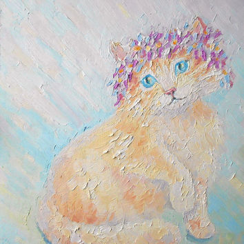 Custom Funny Playful Cat in Wreath of Flower Oil Painting Impasto Original Authors Pet Artwork Still Life with Animal Gift Idea Wall Decor