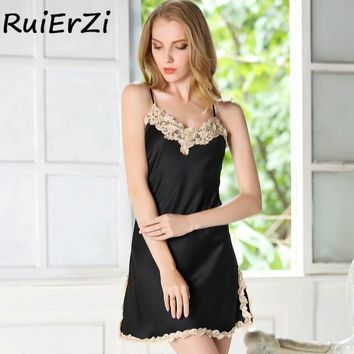 Women Dress Satin Sleepwear Silk Sexy Lace Embroidery Open Fork V-neck Nightgown Nightdress Lingerie Female Sleeveless Nightie