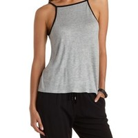 Gray Combo Low-Back Ringer Tank Top by Charlotte Russe