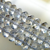 Rock Crystal Quartz Gemstone Clear Micro Faceted Israeli Cut Rondelle 4.5mm 1/2 strand Wholesale