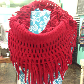 Red Infinity Fringe Scarf