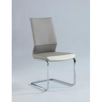 Chintaly Lydia Two Tones Cantilever Side Chair In Taupe