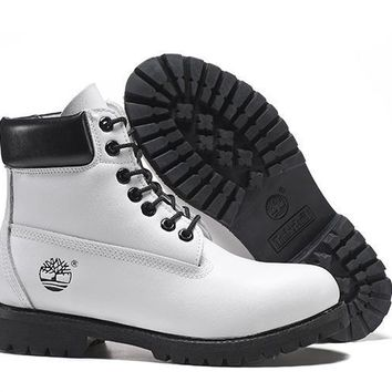 Timberland Rhubarb Boots 10061 Black White For Women Men Shoes Waterproof Martin Boots