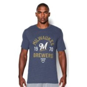 Under Armour Men's Milwaukee Brewers Charged Cotton Tri-Blend T-Shirt