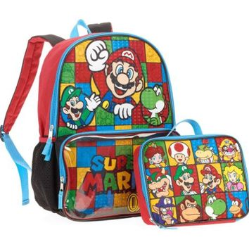 Super Mario Backpack with Clear Pocket Lunchbox Bag
