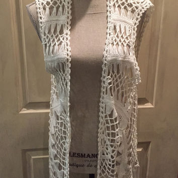Off-White Open Weave Fringed Hem Sweater Vest