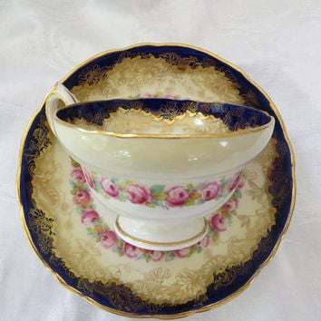 Antique Hammersley Tea Cup, Cobalt Gold Roses, English Bone China, Stoke on Kent, England, English Floral Bone China