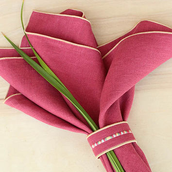 "Linen Napkins, Red (brick) Napkins, Napkin Set, Elegant Napkins, Custom Napkins, LInen Dinner Napkins, Wedding Napkins, Set of 4, 20"" sq."