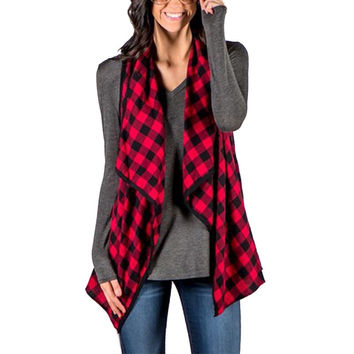 2017 Women Spring Plaid Checks Vest Jacket Fashion Ladies Laple Sleeveless Cardigan Outwear Female Casual Loose Waistcoat