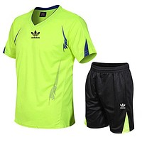 Adidas Popular Men Casual Sport Short Sleeve Top Shorts Set Two Piece Fluorescent Green
