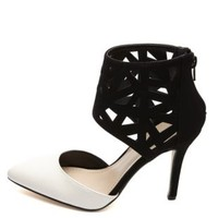 Anne Michelle Laser Cut-Out Color Block Heels - Black/White