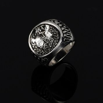 Retro Antique Silver Anchor Design Rings Men Jewelry Leaf Carving Vintage Male Ring Circle Accessories Bagues Homme R0238