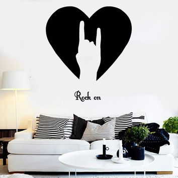 Wall Stickers Vinyl Rock ON Rock-n-Roll Sign of Horn Music Decor (z1672)