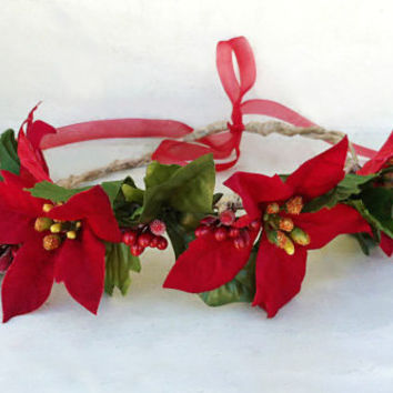 Valentines Day Wreath-Red Berry Crown-Red Poinsettia Hair Wreath-Winter Halo-Winter Wedding-Woodland Hairpiece-Festival-The Velvet Begonia