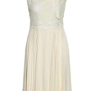 Cotton-blend lace-paneled pleated silk crepe de chine dress | VALENTINO | Sale up to 70% off | THE OUTNET