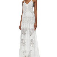 Alice + Olivia Vandy Low-Cut Lace Slip Dress, Cream