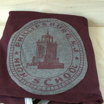 Phillipsburg NJ Wool Stadium Blanket, NOS Wool Blanket with Tags, Burgandy and Gray Wool Blanket