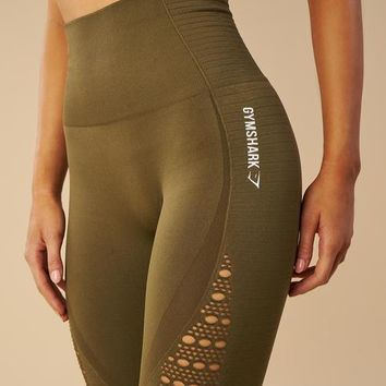 Gymshark Seamless Energy High Waisted Cropped Leggings - Khaki