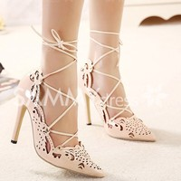Sexy Women's Pumps With Lace-Up and Hollow Out Design