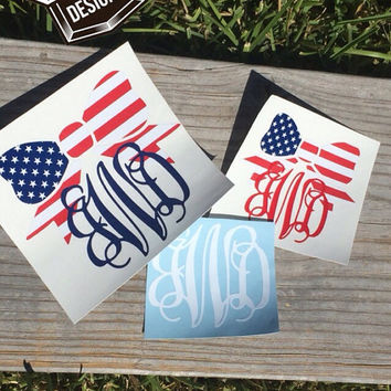 Bow usa american flag decal with or without monogram