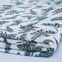 Flying Bird Indian Hand Printed Cotton Fabric by Yards Voile Art White Bleached Green Wood Stamp Sewing Material Making Shirts/Dress