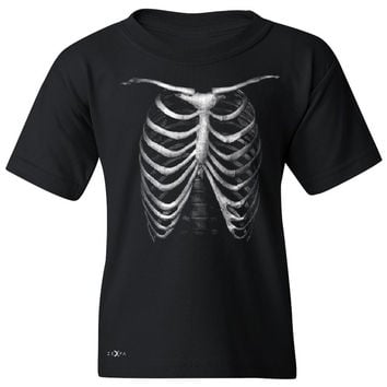 Zexpa Apparel™ Rib Cage Glow in The Dark  Youth T-shirt Halloween Costume Eve Tee