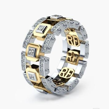 Gold and Silver Mix Color Two Tone Gold Rings for Men Women