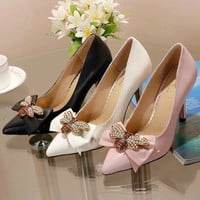GUCCI tide brand female retro bow metal pointed shallow mouth high heel single shoes