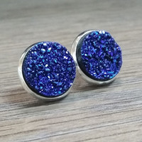 Druzy earrings-  deep blue drusy silver tone stud druzy earrings