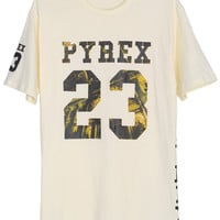 "ROMWE ""PYBEX 23"" Print Short-sleeved Yellow T-shirt"